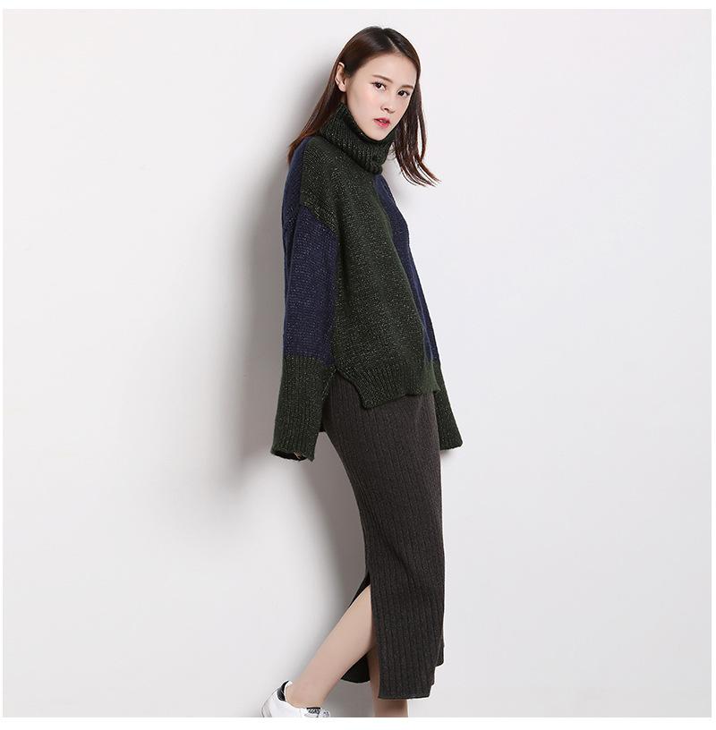 ハイネックのセーターの女子は秋冬の新型の韓国はゆったりとして色の太い針の長袖をカバーします
