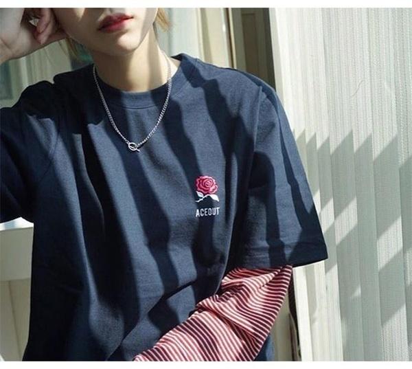 秋の風INS BF韓国ulzzang原宿トレンドセッターカスタム偽の2つのストライプモザイク長い袖