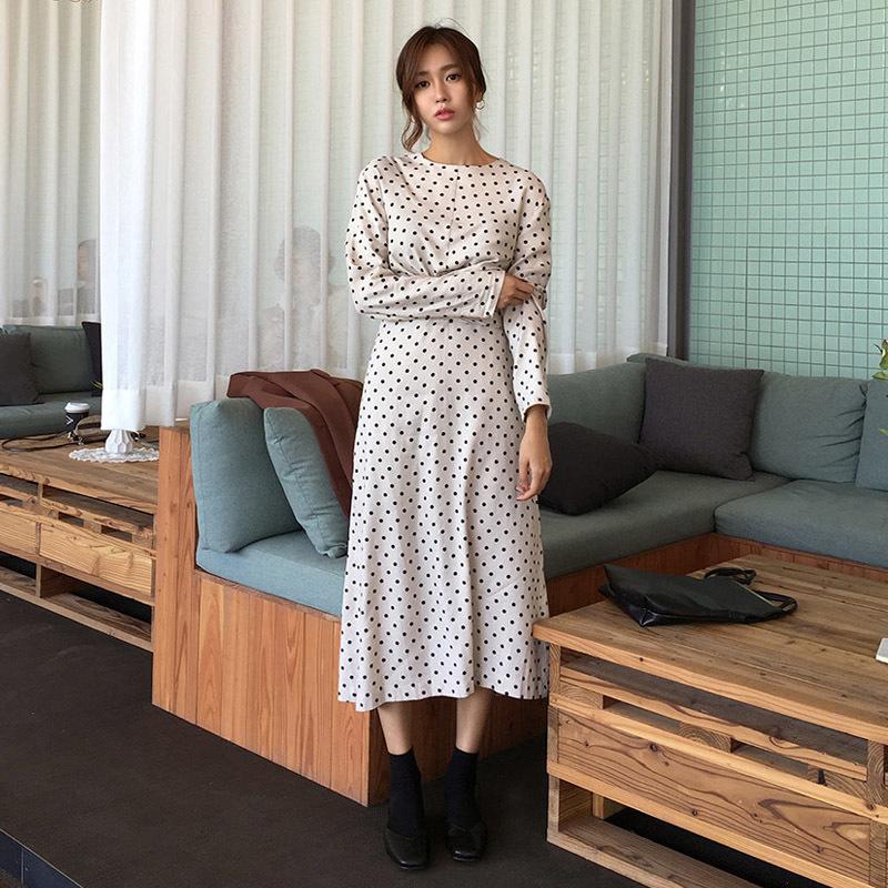 ♥送料 0円★PPGIRL_A782 Dot twist dress / long dress / dot print dress / H line dress / shirring /