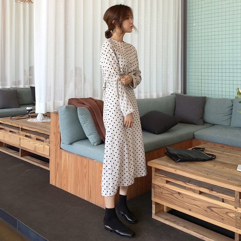 ♥送料 0円★PPGIRL_A782 Dot twist dress / long dress / dot print dress / H line dress / shirring /