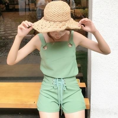 [55555SHOP]夏/新しいデザイン/韓国風/不規則な/肩なし/スリング/トップス/ハイウエスト/ワイドレッグ/ショートパンツ/2点セット/ファッション/セット/女