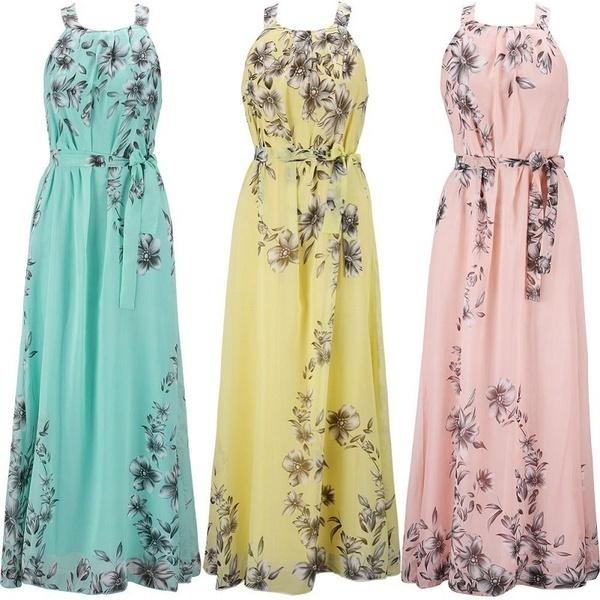 プラスサイズ2017女性ボヘミアンノースリーブシフォン花プリントホルターマキシスカートビーチドレスロングスカート