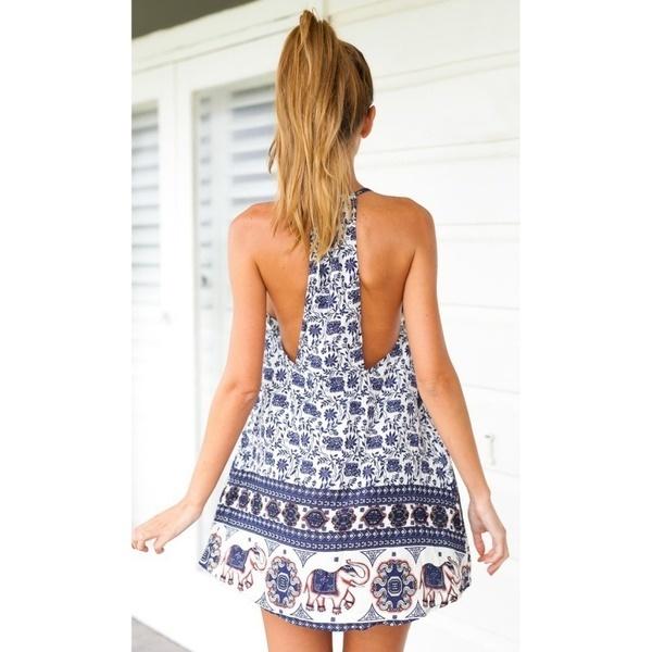 カジュアルな女性夏レトロ花プリントボホビーチプラスサイズバックレスドレス