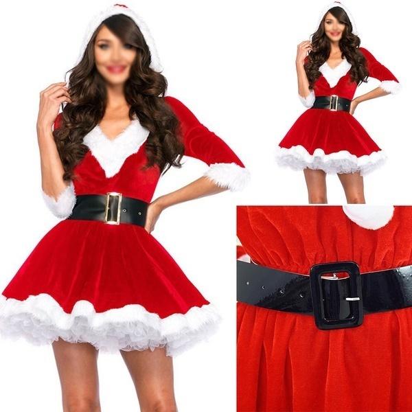 レディースサンタクリスマスコスチュームコスプレXmas衣装ウエストベルトファンシードレス(カラー:レッド)