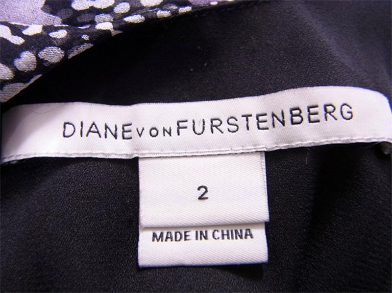 ダイアンフォンファステンバーグ DIANE von FURSTENBERG ワンピース ノースリ リボン レディース ♯2サイズ シルクシフォン プリント ブラック×パープル系 シルク100%(裏地)