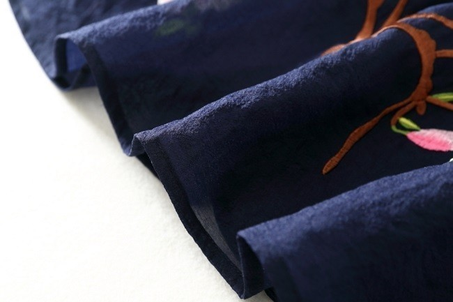 ワンピース レディース ミニ ショート丈 フレア 半袖 チャイナ 風 春夏 夏 フラワー 刺繍 花
