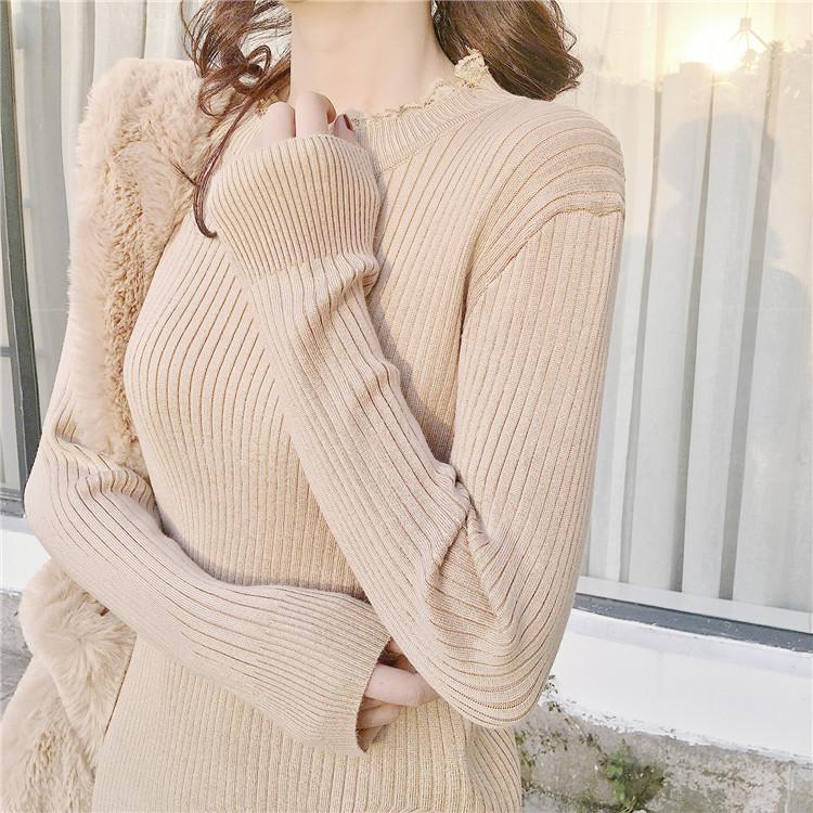 2018春季新型女装レース切り替えセーターをスカート長袖で「ひざロングニットワンピース