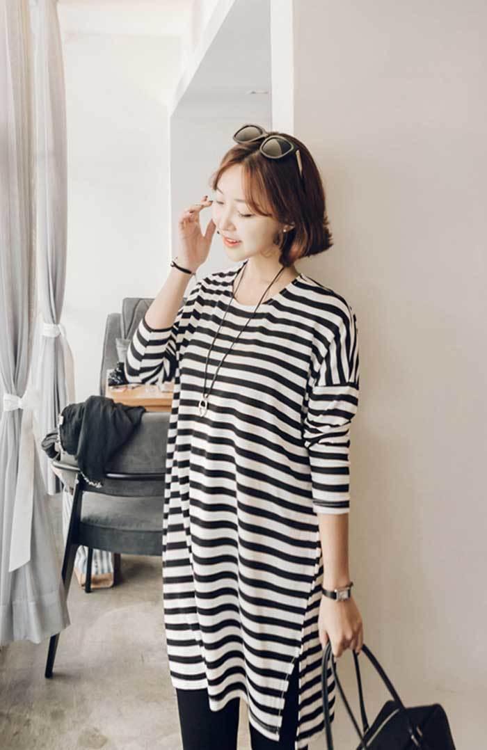 JOAMOM(ジョアマム)ルーズフィットストライプワンピース【4/11up_go】韓国 韓国ファッション ワンピース チ