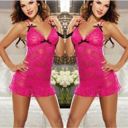 ランジェリー・セクシー・フェムスローブ・エン・デンデルSous-vêtementローズ・ヌイゼット・パジャマ・ストリング(サイズ:ワンサイズ、コル