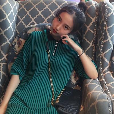 韓国風 五分袖 中長デザイン ニッティング ワンピース  女 着やせ 着やせ シンプル