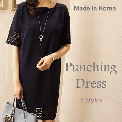[something]最小パンチングドレス ★ 韓国から直接/高品質/打ち抜き/ドレス/オフィスウェア/韓国ファッション