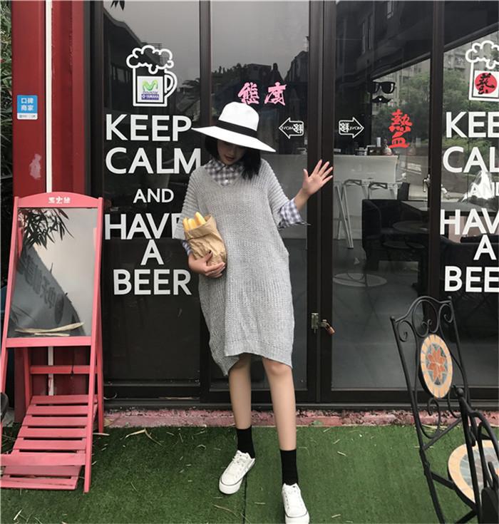 [55555SHOP]女性のセータードレス半袖エスニックストライプシースロングニットウェア
