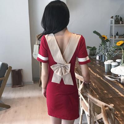 [55555SHOP]夏 新しいデザイン 女性服 気質 ヒットカラー スプライシング リボン Vネック 着やせ