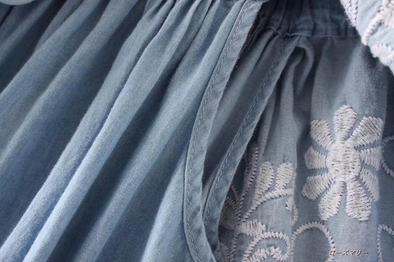 【ローズマリー】欧米風の女装秋一字領ベアトップカウボーイワンピースフリル積層装飾腰着やせ短いスカート ボートネック 刺繍レース デニムワンピース-QQ1613