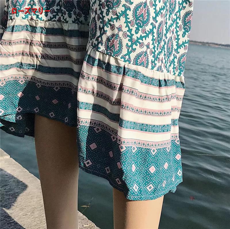 【ローズマリー】欧米2018春季新型民族風海辺のリゾート位置決め花ガーター砂浜に長いスカートのワンピース キャミワンピース プリント  ベーシック 旅行/夏休み-R409
