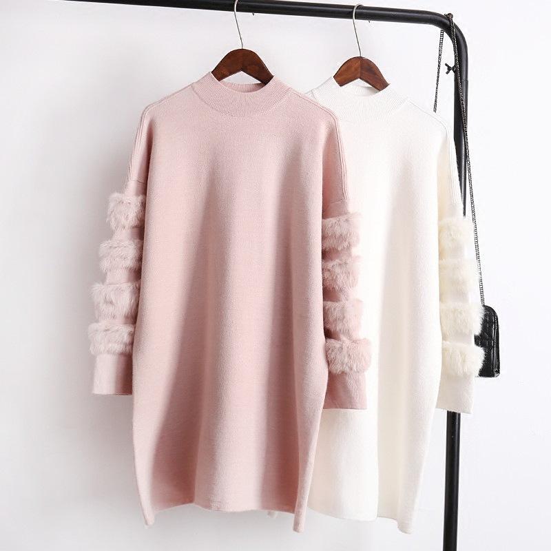 袖にファー飾り 可愛いニットワンピース  レディーストップス セーター レディース カジュアル  オシャレできない 防寒 ユニークなスリーブデザインで 冬コーデ