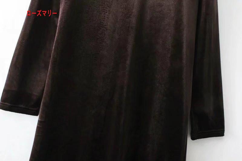 【ローズマリー】2018早春新型女装ファッション欧米風気質腰着やせベルベット网纱切り替えワンピース 長袖ワンピース  ベーシック 大人気 -R353