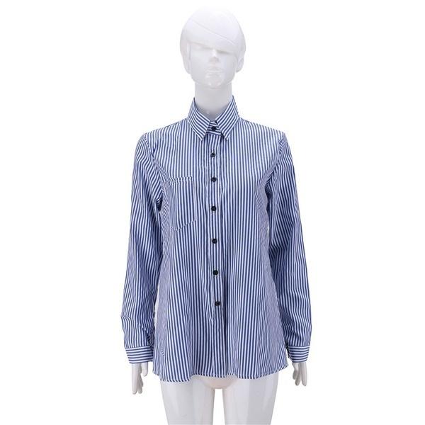 レディースレジャーシフォンスタンドカラーシャツ長袖ストライプブラウスプラスサイズS-XXXXXL