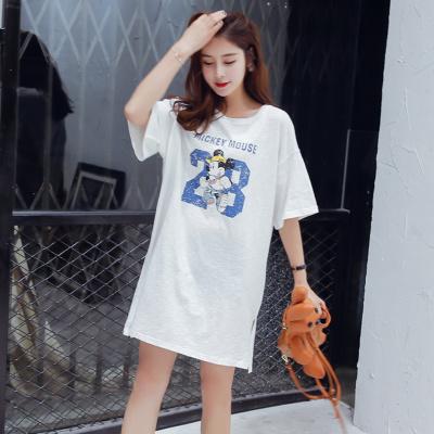 ミッキー半袖Tシャツ/tシャツルームウェア/ワンピース/ロングT/Tシャツ パーカー 友達 ペア/ ディズニー 韓国Tシャツワンピ/スウェット/スカート/無地シンプル ブラウス/部屋着 外出着