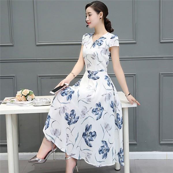レディースワンピース 韓国無地 スリム 韓国のファッション  ロングスカート V領半袖ワンピース  ハイウエストワンピース  プリントワンピース  ハイセンス 着心地いい おしゃれ 夏 スリム セール