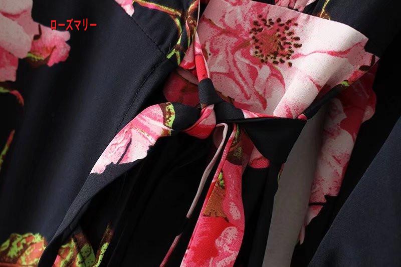 【ローズマリー】フラワープリントの長いセクションベルトワンピース女欧米春モデル七分袖腰着やせロングスカート ロングワンピース 花柄 ビーチワンピース-R1005