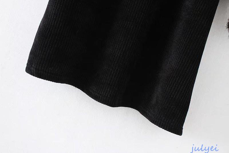 欧米風 ハイネック 花刺繡入り セーター ニットワンピース  チュニック 秋冬 レディース 着やせ ブラック
