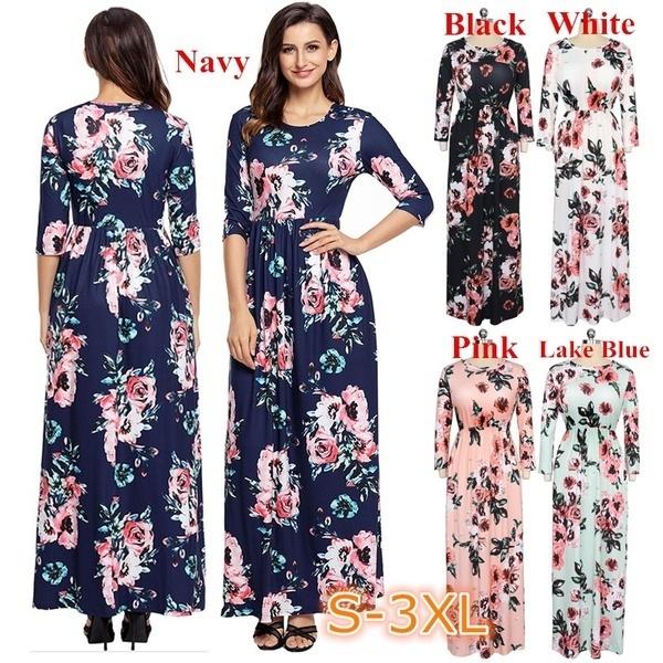 女性の春ファッションOネックプリントロングドレス