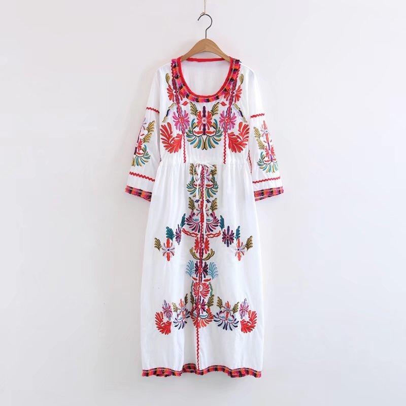 民族風2カラー揃いでハード刺繡民族風ロング丈ワンピース 7分袖レトロボヘミアンドレス