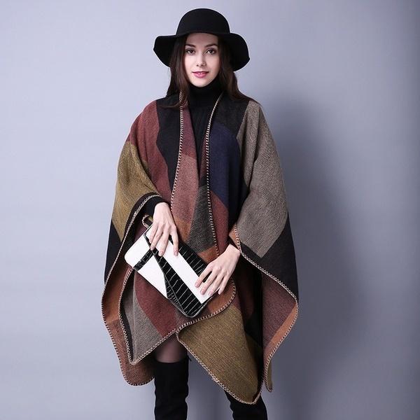 女性の冬リバーシブルオーバーサイズブランケットポンチョケープショールカーディガンマンタウフェムコート(ワンサイズ)