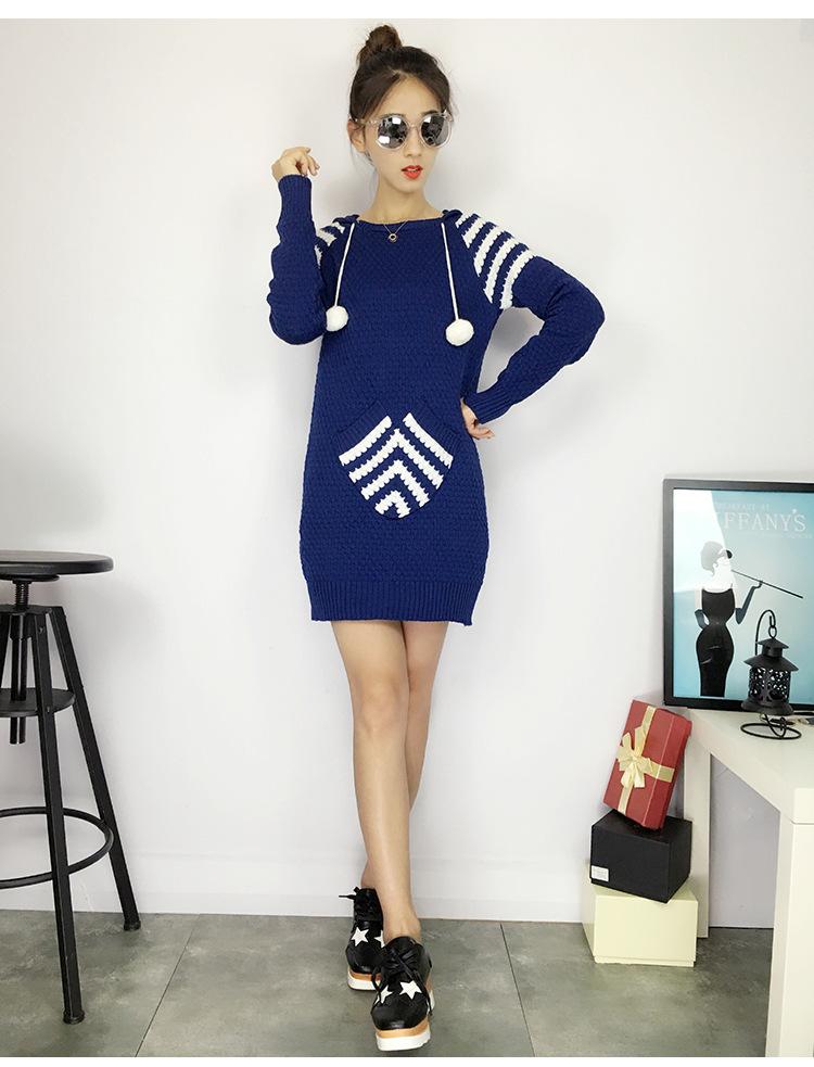 レディース服 女性 ニットウェア ワンピース ファッション セーター お洒落 韓国風 配色 ミドル ポケット丸首 花柄 フード付き