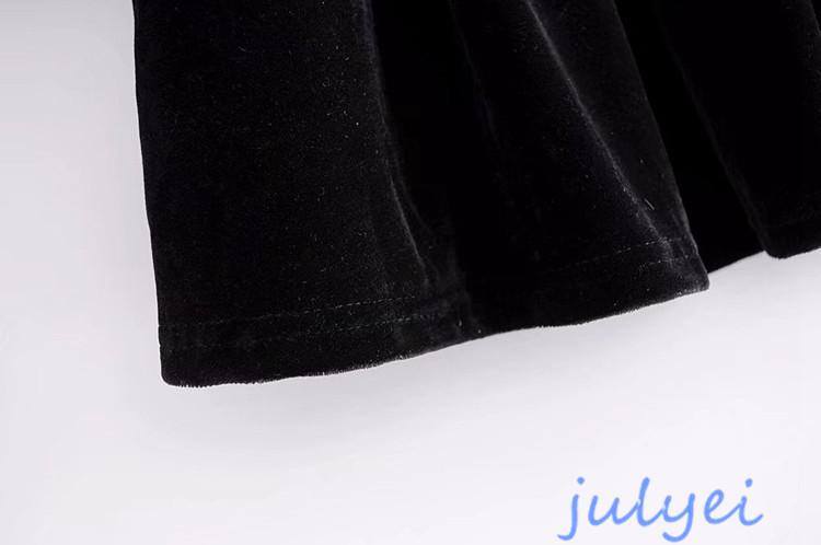 欧米風 ベロア素材 花刺繡入り  ワンピース クルーネック 2018春新作 ミニワンピース ゆったり  上品