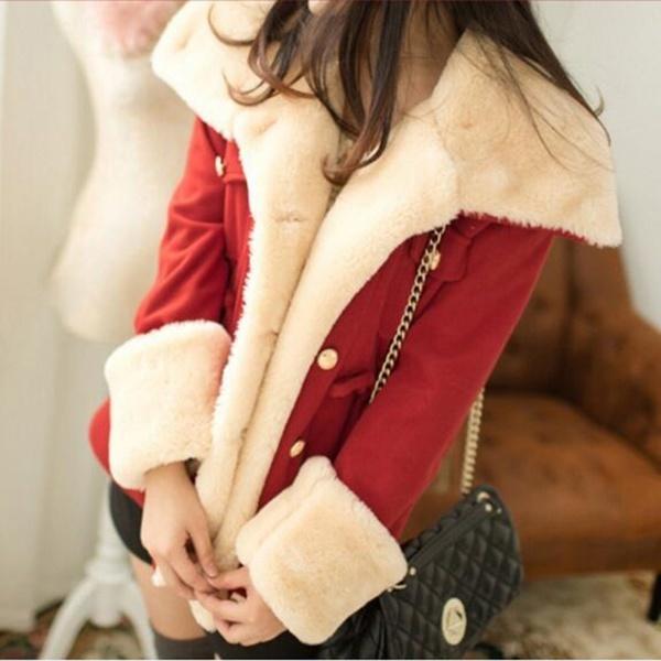 ファッション女性の冬のウォームジャケットミッドロングダブルブレストウインドブレーカーカジュアルかわいいコートサイズM