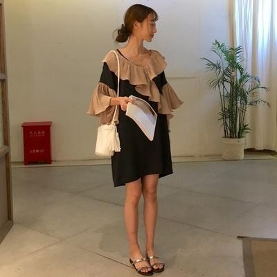 韓国 アンティーク調 ルース ヒットカラー 中長デザイン Vネック フリル 五分袖 ワン