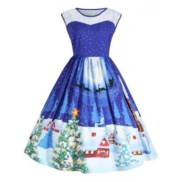 ヴィンテージドレスの女性のクリスマススノーフレークプリントノースリーブイブニングパーティードレス