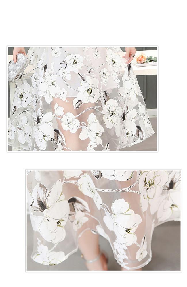 ☀夏新作☀【AYA】シフォン プリント キャミワンピース  ラウンドネック エンパイア 台形スカート ロングスカート 着痩せ スリム ワンピース