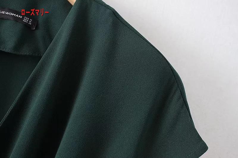 【ローズマリー】欧米風2018春季新型ファッション百搭Vネック半袖ベルト装飾着やせワンピースでロングスカート ロングワンピース  ベーシック フィットスタイル-R1245