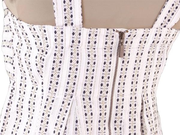 シーバイクロエ SEE BY CHLOE ワンピース 胸元リボン レディース ♯USA2サイズ ストライプ ホワイト×ブラック×ゴールド コットン綿89%ポリエステル7%ナイロン4%(裏地)コットン綿