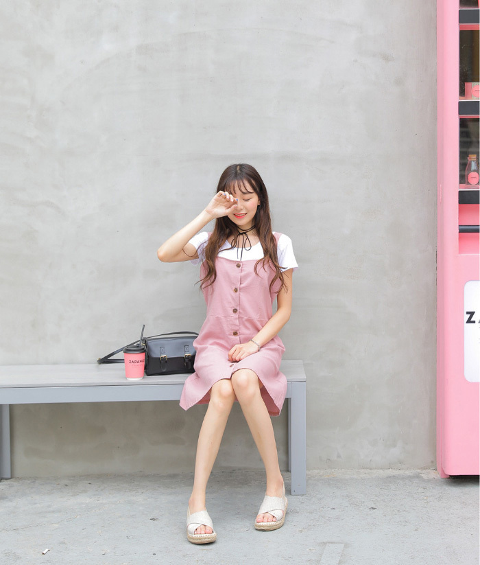SONYUNARA(ソニョナラ)前ボタンワンピース【8/7up_wo】韓国 韓国ファッション 前ボタン ワンピース ワンピ 秋 双子コーデレ