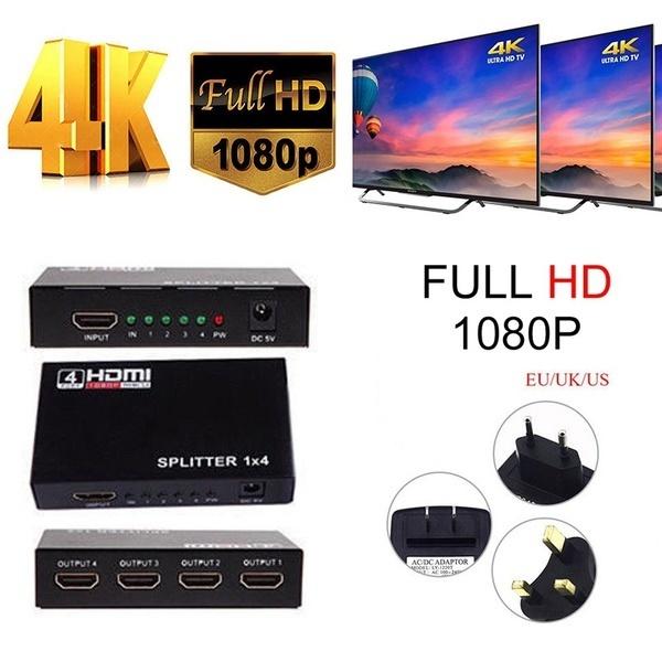 米国/ EU / UKプラグ4ポートのフルHD HDMIスプリッタアンプスイッチャー1080p 4Kメススイッチボックス