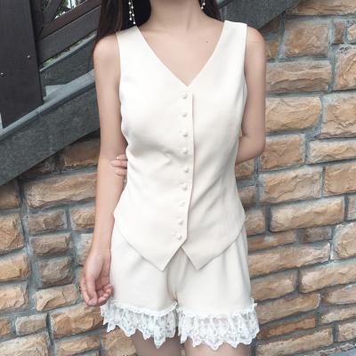 [55555SHOP]夏/新しいデザイン/女性服/韓国風/ファッション/パール/Vネック/キャミソール/ステレオ/レース/ワイドレッグ/ショートパンツ/セット