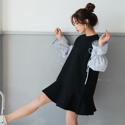 【RE】切り替え ロングスリーブ 加絨 スウェット ワンピース 2018 春の新型 韓国ファッション-SS1327