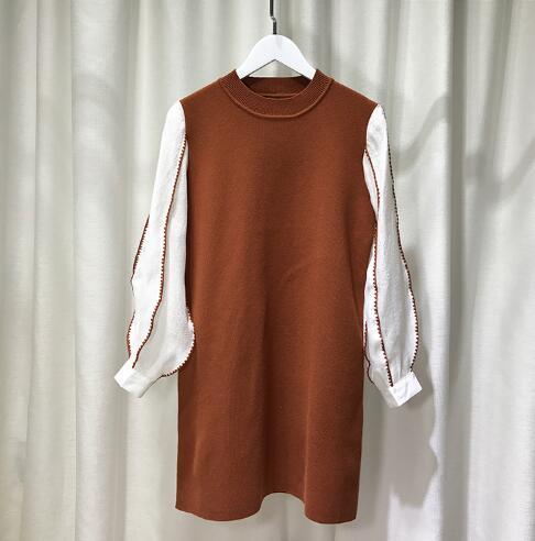 [55555SHOP]韓国ファッション ラウンドネック フレアルーズフィットワンピース