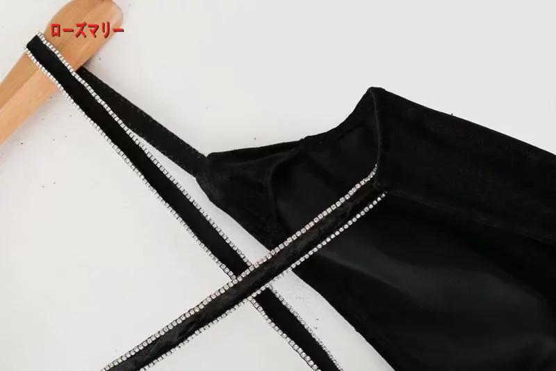 【ローズマリー】欧米2018早春の新型のVネック黒ビロードに長ガーター無袖ワンピース キャミワンピース フィットスタイル ヴィンテージ調 大人気-QQ5905