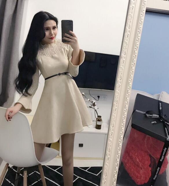 [55555SHOP]レースシースルーフレアワンピース★韓国ファッション パーティードレス   ドレス ワンピ ミニドレス ショートドレス