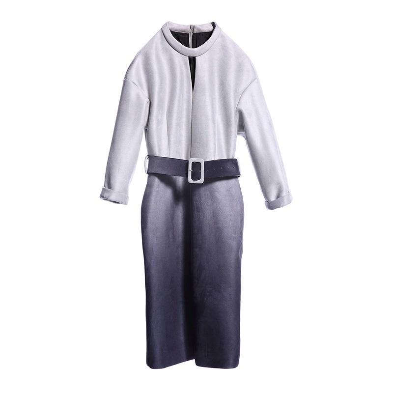 レディース ワンピース セーム革 長袖 ベルト付き スカート