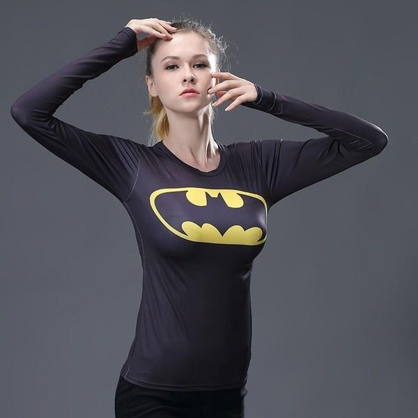 女性のプリントバットマンロングスリーブTシャツクイックドライコンプレッションランニングセーター