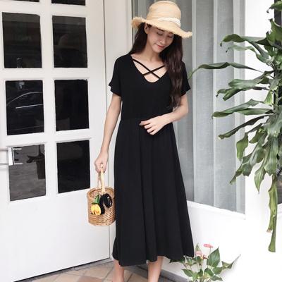 夏 新しいデザイン 女性服 単一色 気質 クロス 中空 ハイウエスト 着やせ 両面着用