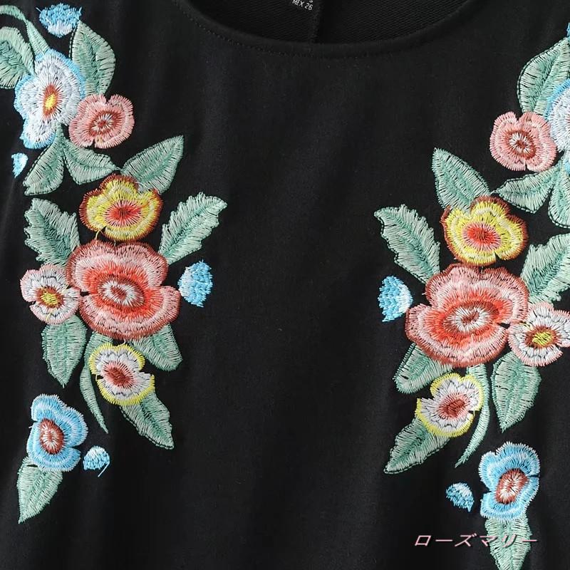【ローズマリー】欧米2017秋新型ファッションゆったり半袖クルーネック花刺繍ワンピーススカート スイート 花柄 フィットスタイル ヴィンテージ調-QQ3235
