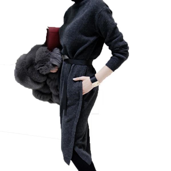 2016年秋冬新作長袖ハイネック毛糸編みゆったりレディースワンピース大きいサイズ小さいサイズ