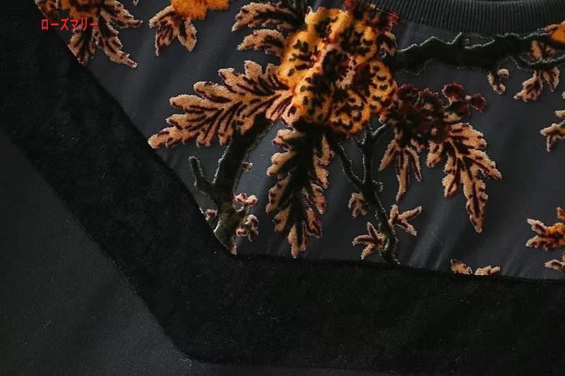 【ローズマリー】欧米風2018早春ファッション新型ゆったり丸首切り替えプリントワンピース スイート 花柄 ヴィンテージ調 大人気-QQ5526